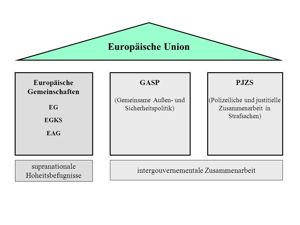PJZS (Polizeiliche und justitielle Zusammenarbeit in Strafsachen) GASP (Gemeinsame Außen- und Sicherheitspolitik) Europäische Gemeinschaften EG EGKS E