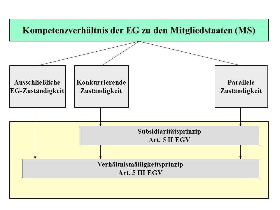 Ausschließliche EG-Zuständigkeit Konkurrierende Zuständigkeit Parallele Zuständigkeit Subsidiaritätsprinzip Art. 5 II EGV Verhältnismäßigkeitsprinzip