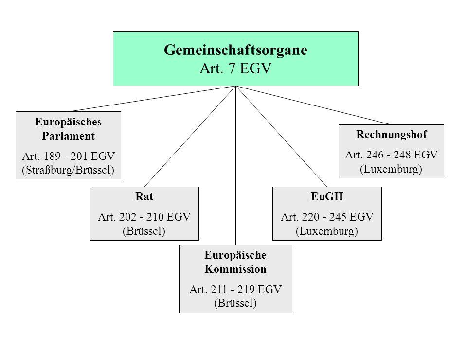 Gemeinschaftsorgane Art. 7 EGV Europäisches Parlament Art. 189 - 201 EGV (Straßburg/Brüssel) Rat Art. 202 - 210 EGV (Brüssel) Europäische Kommission A