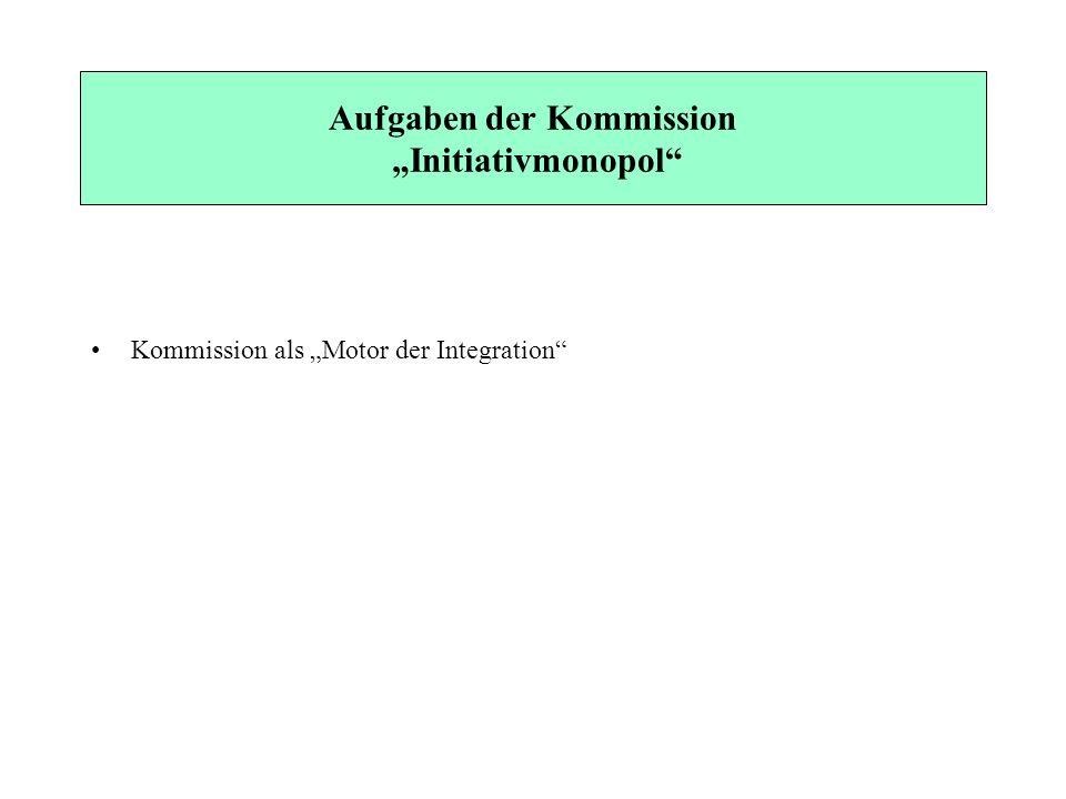 Aufgaben der Kommission Initiativmonopol Kommission als Motor der Integration