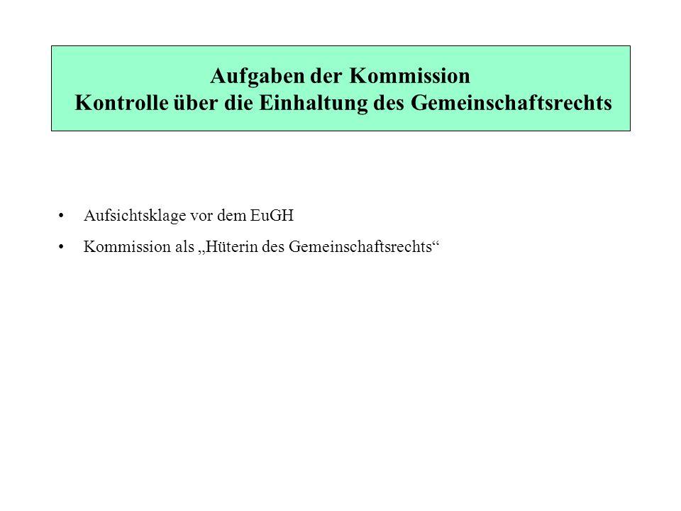 Aufgaben der Kommission Kontrolle über die Einhaltung des Gemeinschaftsrechts Aufsichtsklage vor dem EuGH Kommission als Hüterin des Gemeinschaftsrech