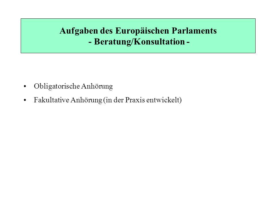 Aufgaben des Europäischen Parlaments - Beratung/Konsultation - Obligatorische Anhörung Fakultative Anhörung (in der Praxis entwickelt)