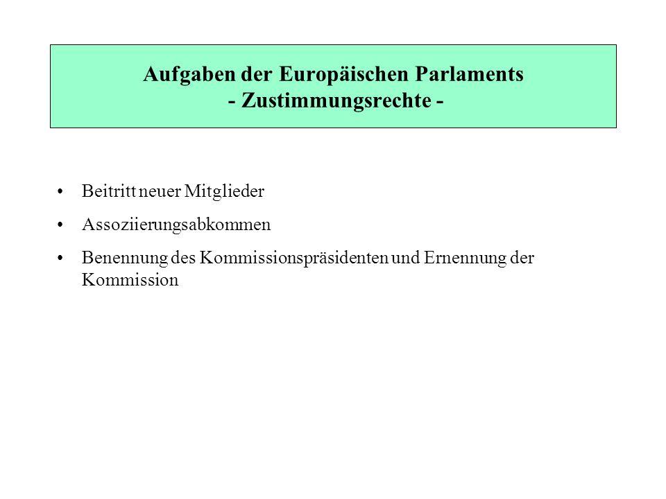 Aufgaben der Europäischen Parlaments - Zustimmungsrechte - Beitritt neuer Mitglieder Assoziierungsabkommen Benennung des Kommissionspräsidenten und Er