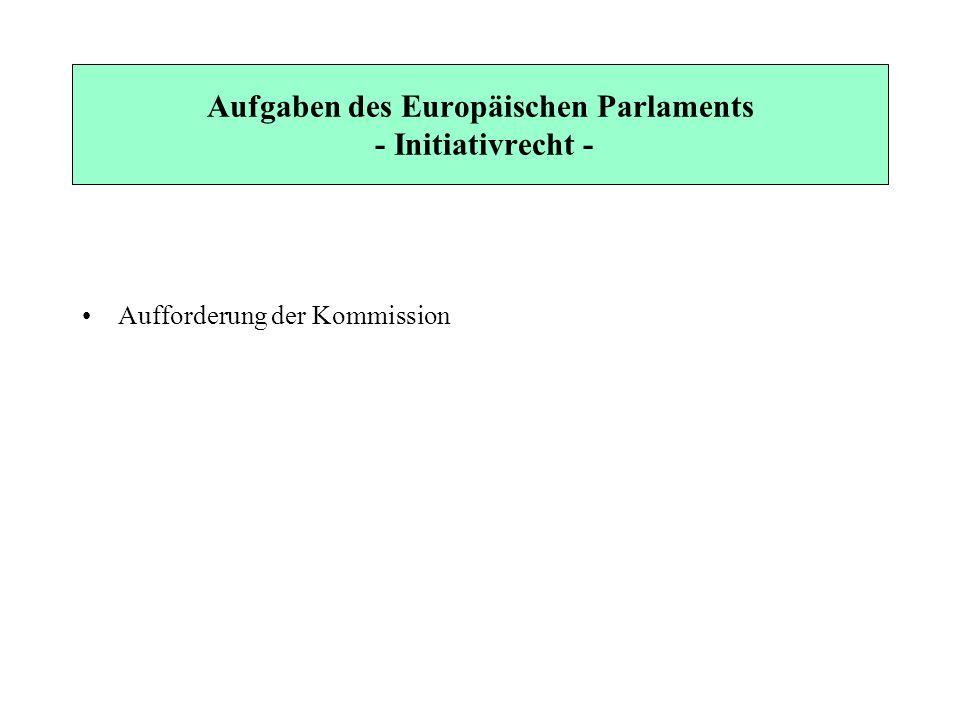 Aufgaben des Europäischen Parlaments - Initiativrecht - Aufforderung der Kommission