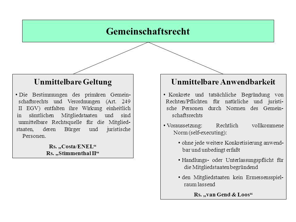 Gemeinschaftsrecht Unmittelbare Geltung Die Bestimmungen des primären Gemein- schaftsrechts und Verordnungen (Art. 249 II EGV) entfalten ihre Wirkung