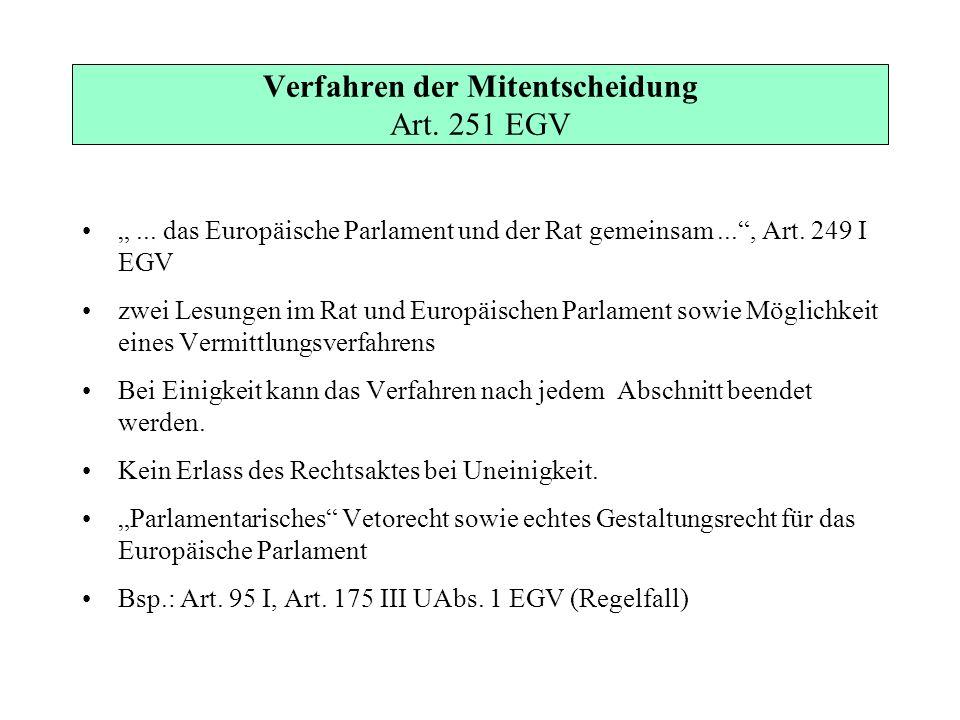 Verfahren der Mitentscheidung Art. 251 EGV... das Europäische Parlament und der Rat gemeinsam..., Art. 249 I EGV zwei Lesungen im Rat und Europäischen