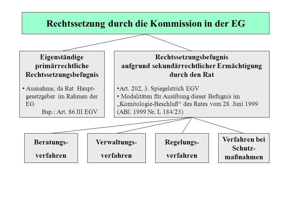 Rechtssetzung durch die Kommission in der EG Eigenständige primärrechtliche Rechtssetzungsbefugnis Ausnahme, da Rat Haupt- gesetzgeber im Rahmen der E