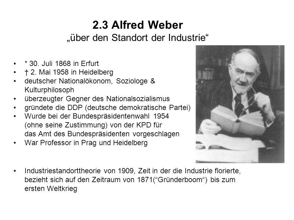 2.3 Alfred Weber über den Standort der Industrie * 30.