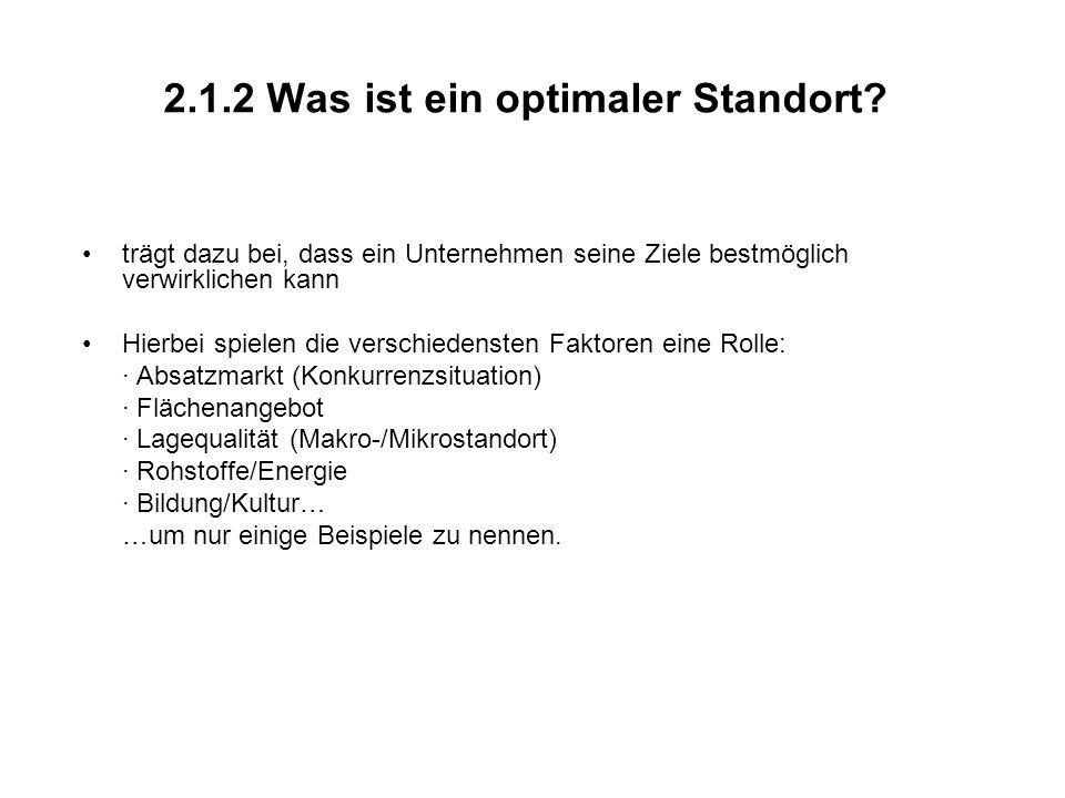 2.1.2 Was ist ein optimaler Standort.