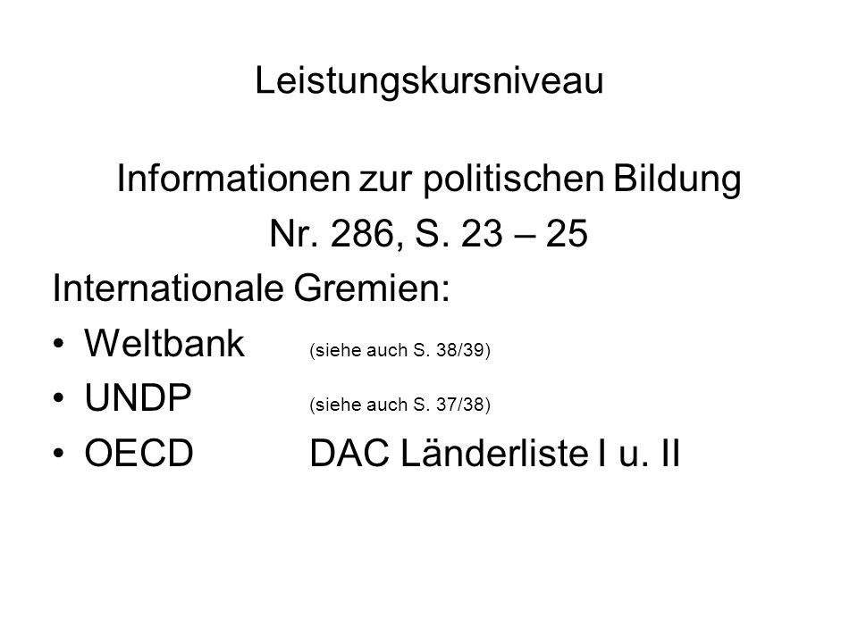 Leistungskursniveau Informationen zur politischen Bildung Nr.