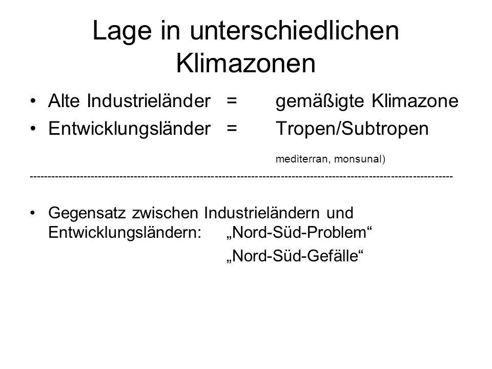 Lage in unterschiedlichen Klimazonen Alte Industrieländer=gemäßigte Klimazone Entwicklungsländer=Tropen/Subtropen mediterran, monsunal) -------------------------------------------------------------------------------------------------------------------- Gegensatz zwischen Industrieländern und Entwicklungsländern:Nord-Süd-Problem Nord-Süd-Gefälle