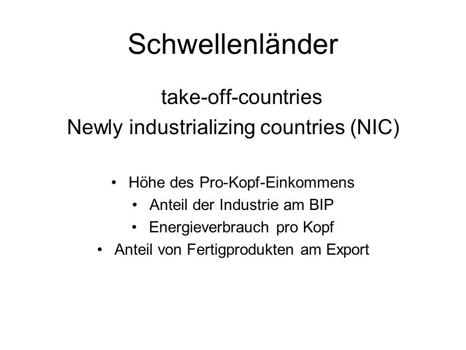 Schwellenländer take-off-countries Newly industrializing countries (NIC) Höhe des Pro-Kopf-Einkommens Anteil der Industrie am BIP Energieverbrauch pro