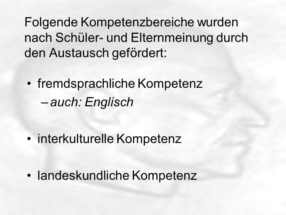 Folgende Kompetenzbereiche wurden nach Schüler- und Elternmeinung durch den Austausch gefördert: fremdsprachliche Kompetenz –auch: Englisch interkulturelle Kompetenz landeskundliche Kompetenz