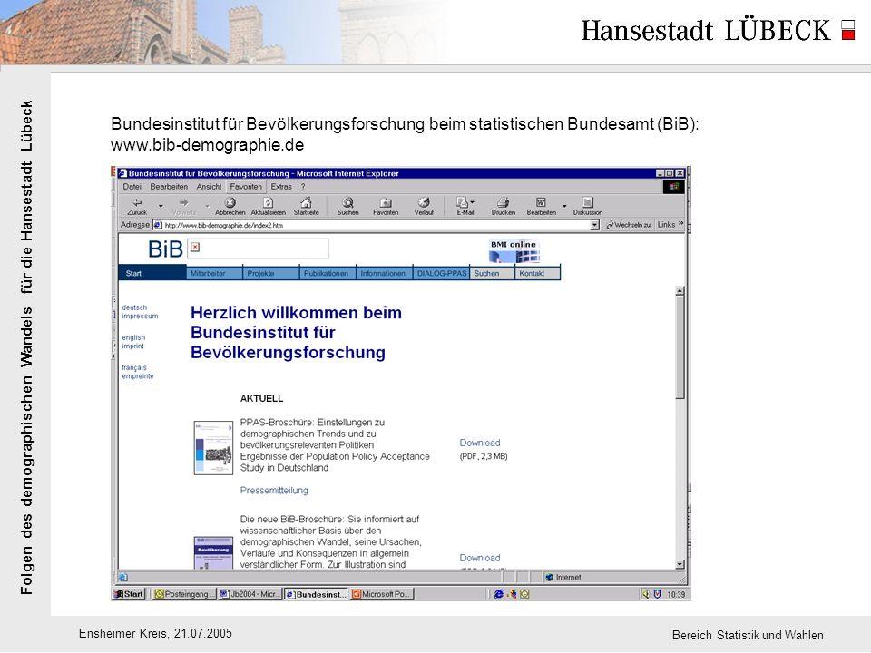 Folgen des demographischen Wandels für die Hansestadt Lübeck Ensheimer Kreis, 21.07.2005 Bereich Statistik und Wahlen Bundesinstitut für Bevölkerungsforschung beim statistischen Bundesamt (BiB): www.bib-demographie.de