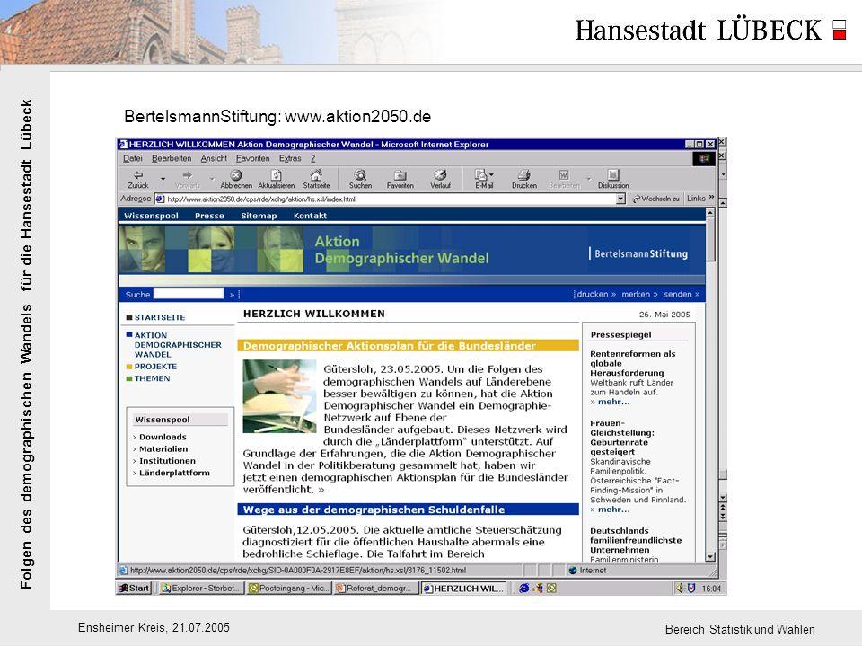 Folgen des demographischen Wandels für die Hansestadt Lübeck Ensheimer Kreis, 21.07.2005 Bereich Statistik und Wahlen BertelsmannStiftung: www.aktion2050.de