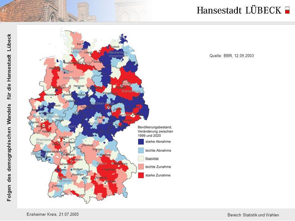 Folgen des demographischen Wandels für die Hansestadt Lübeck Ensheimer Kreis, 21.07.2005 Bereich Statistik und Wahlen Quelle: BBR, 12.09.2003
