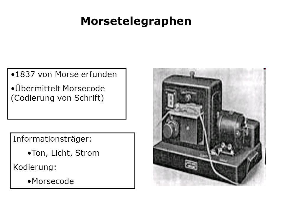 Morsetelegraphen 1837 von Morse erfunden Übermittelt Morsecode (Codierung von Schrift) Informationsträger: Ton, Licht, Strom Kodierung: Morsecode