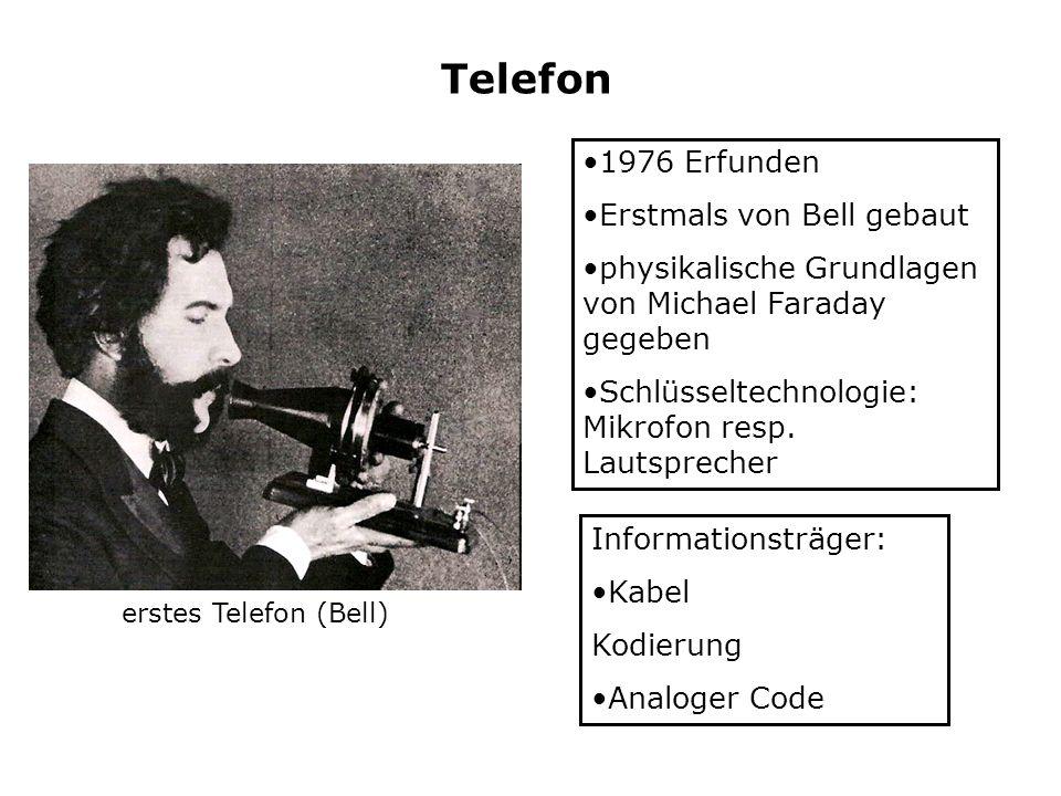 Telefon 1976 Erfunden Erstmals von Bell gebaut physikalische Grundlagen von Michael Faraday gegeben Schlüsseltechnologie: Mikrofon resp. Lautsprecher