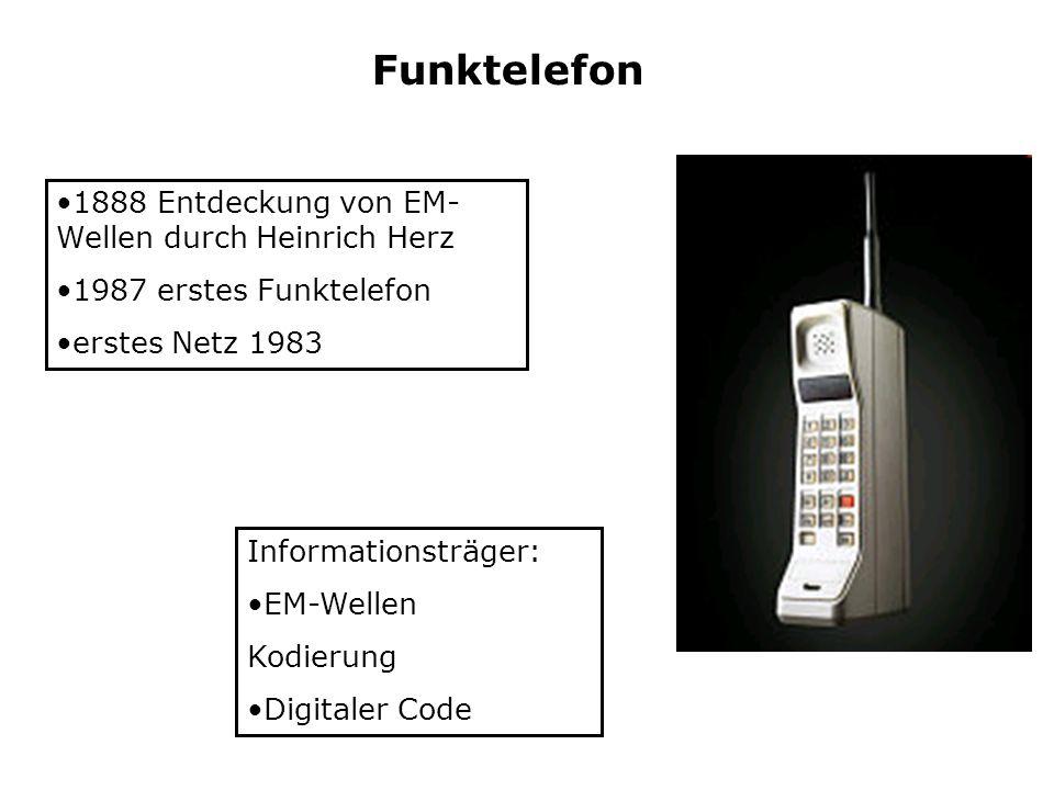 Funktelefon Informationsträger: EM-Wellen Kodierung Digitaler Code 1888 Entdeckung von EM- Wellen durch Heinrich Herz 1987 erstes Funktelefon erstes N