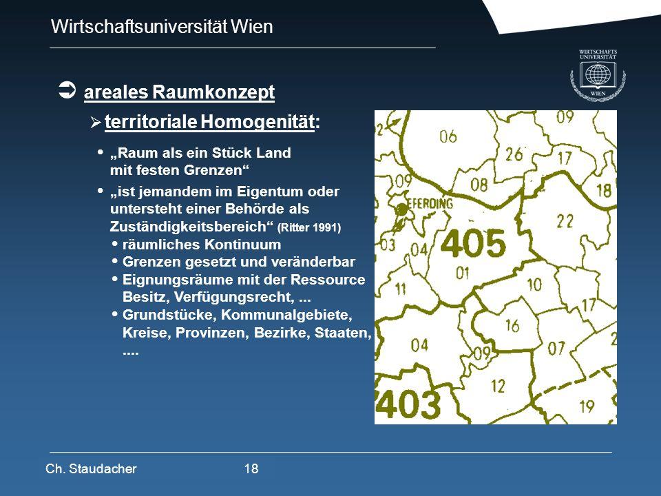 Wirtschaftsuniversität Wien Platz für Logos oder Links areales Raumkonzept territoriale Homogenität: Raum als ein Stück Land mit festen Grenzen ist je