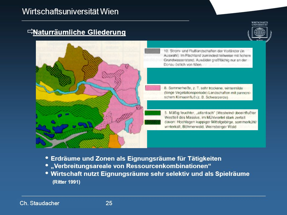 Wirtschaftsuniversität Wien Platz für Logos oder Links Erdräume und Zonen als Eignungsräume für Tätigkeiten Verbreitungsareale von Ressourcenkombinati