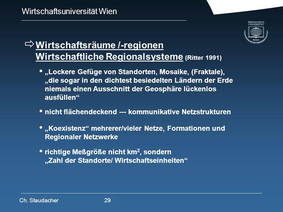 Wirtschaftsuniversität Wien Platz für Logos oder Links Wirtschaftsräume /-regionen Wirtschaftliche Regionalsysteme (Ritter 1991) Lockere Gefüge von St