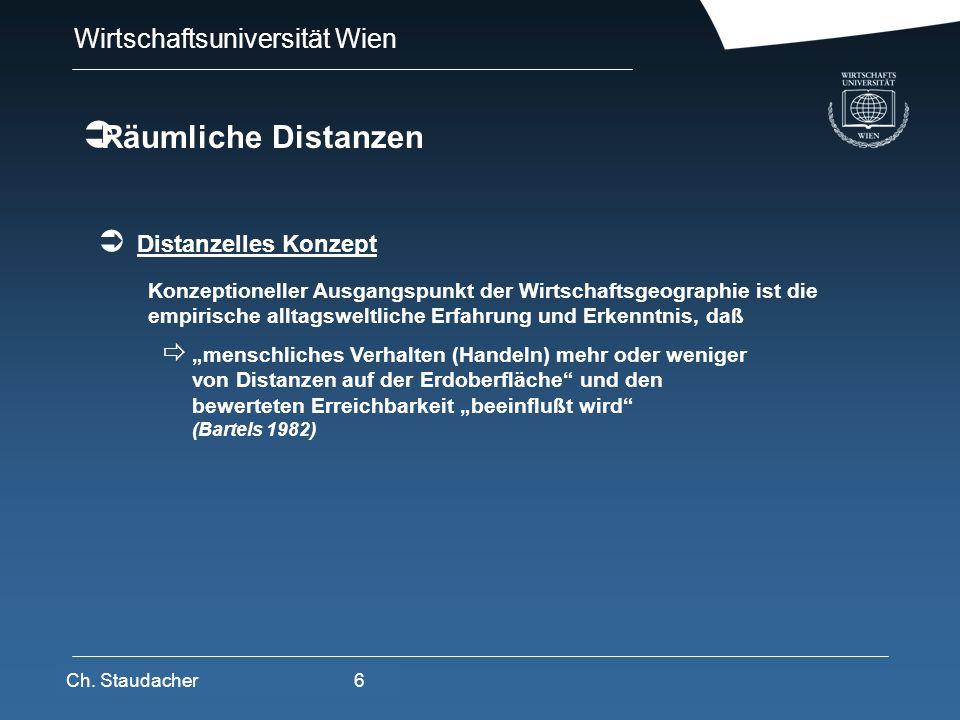 Wirtschaftsuniversität Wien Platz für Logos oder Links Distanzelles Konzept Ch. Staudacher6 Konzeptioneller Ausgangspunkt der Wirtschaftsgeographie is