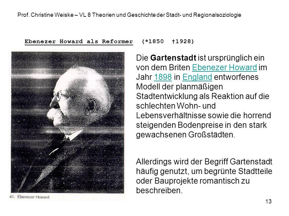13 Prof. Christine Weiske – VL 8 Theorien und Geschichte der Stadt- und Regionalsoziologie Ebenezer Howard als Reformer (*1850 1928) Die Gartenstadt i