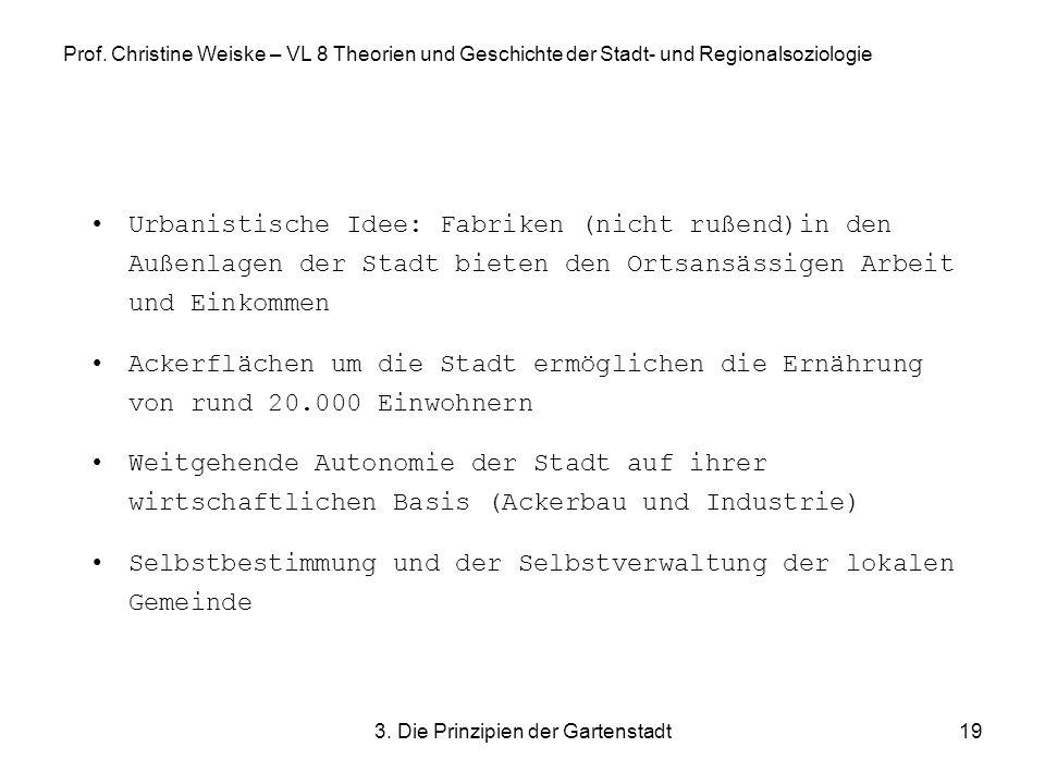 3. Die Prinzipien der Gartenstadt19 Prof. Christine Weiske – VL 8 Theorien und Geschichte der Stadt- und Regionalsoziologie Urbanistische Idee: Fabrik