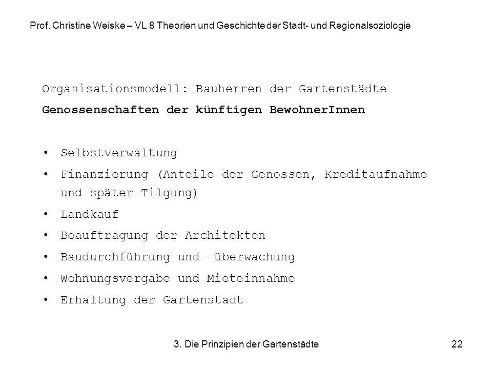 3. Die Prinzipien der Gartenstädte22 Prof. Christine Weiske – VL 8 Theorien und Geschichte der Stadt- und Regionalsoziologie Organisationsmodell: Bauh