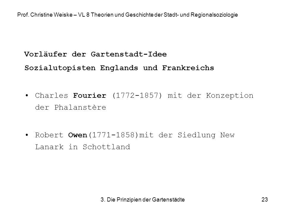 3. Die Prinzipien der Gartenstädte23 Prof. Christine Weiske – VL 8 Theorien und Geschichte der Stadt- und Regionalsoziologie Vorläufer der Gartenstadt