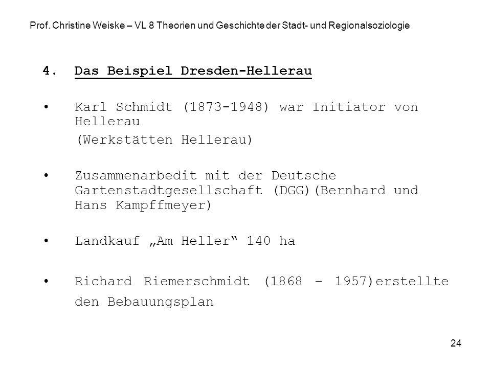 24 Prof. Christine Weiske – VL 8 Theorien und Geschichte der Stadt- und Regionalsoziologie 4.Das Beispiel Dresden-Hellerau Karl Schmidt (1873-1948) wa