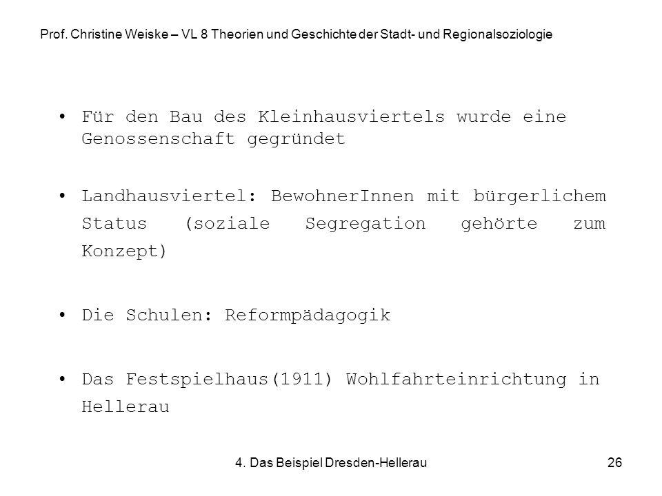 4. Das Beispiel Dresden-Hellerau26 Prof. Christine Weiske – VL 8 Theorien und Geschichte der Stadt- und Regionalsoziologie Für den Bau des Kleinhausvi