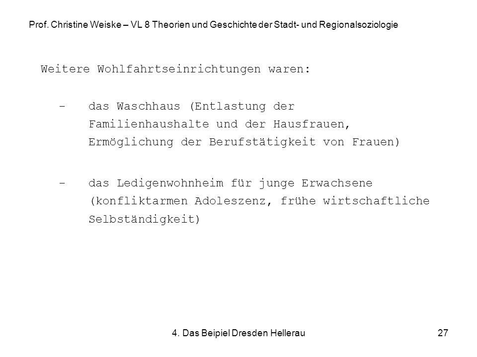 4. Das Beipiel Dresden Hellerau27 Prof. Christine Weiske – VL 8 Theorien und Geschichte der Stadt- und Regionalsoziologie Weitere Wohlfahrtseinrichtun