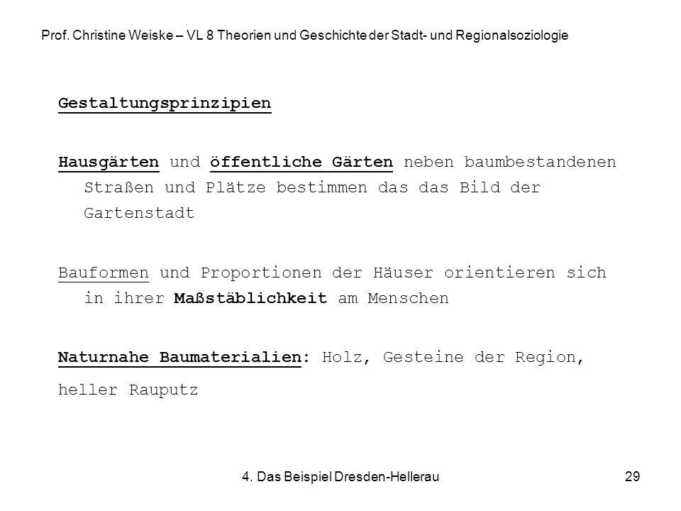4. Das Beispiel Dresden-Hellerau29 Prof. Christine Weiske – VL 8 Theorien und Geschichte der Stadt- und Regionalsoziologie Gestaltungsprinzipien Hausg