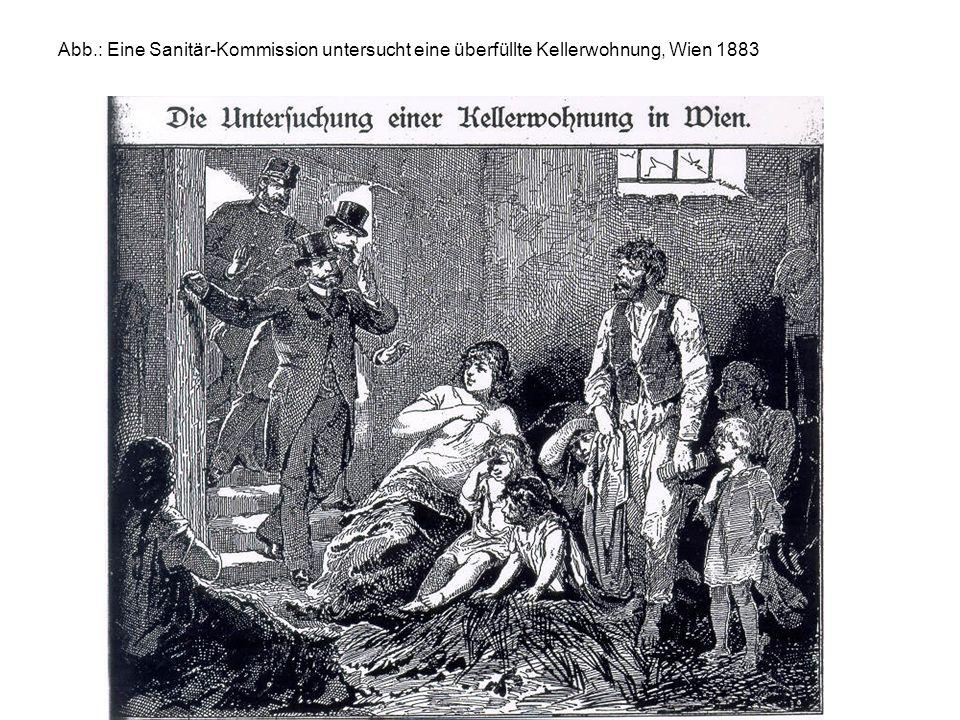 Abb.: Eine Sanitär-Kommission untersucht eine überfüllte Kellerwohnung, Wien 1883