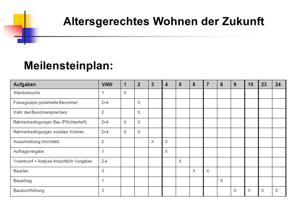 Meilensteinplan: AufgabenVAW123456789102324 Standortsuche1X Fokusgruppe (potentielle Bewohner)2+4X Wahl des Bewohnersprechers2X Rahmenbedingungen Bau