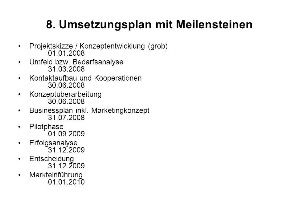8. Umsetzungsplan mit Meilensteinen Projektskizze / Konzeptentwicklung (grob) 01.01.2008 Umfeld bzw. Bedarfsanalyse 31.03.2008 Kontaktaufbau und Koope