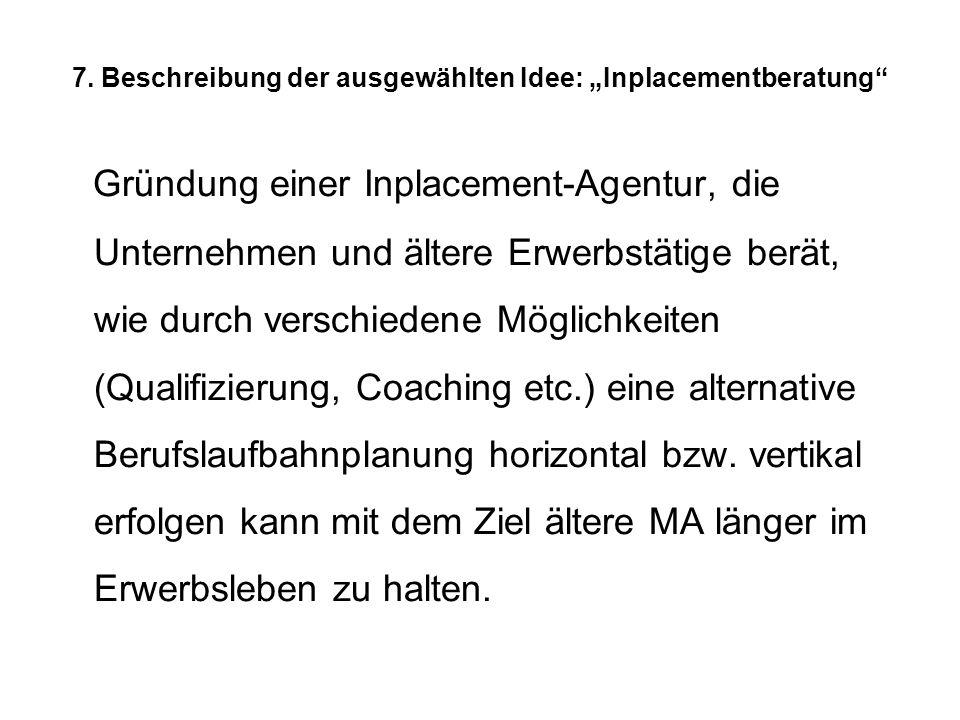 7. Beschreibung der ausgewählten Idee: Inplacementberatung Gründung einer Inplacement-Agentur, die Unternehmen und ältere Erwerbstätige berät, wie dur