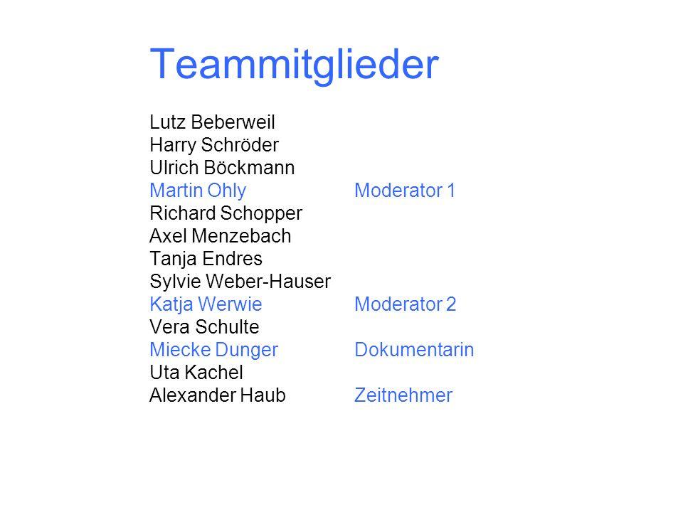 Teammitglieder Lutz Beberweil Harry Schröder Ulrich Böckmann Martin OhlyModerator 1 Richard Schopper Axel Menzebach Tanja Endres Sylvie Weber-Hauser K
