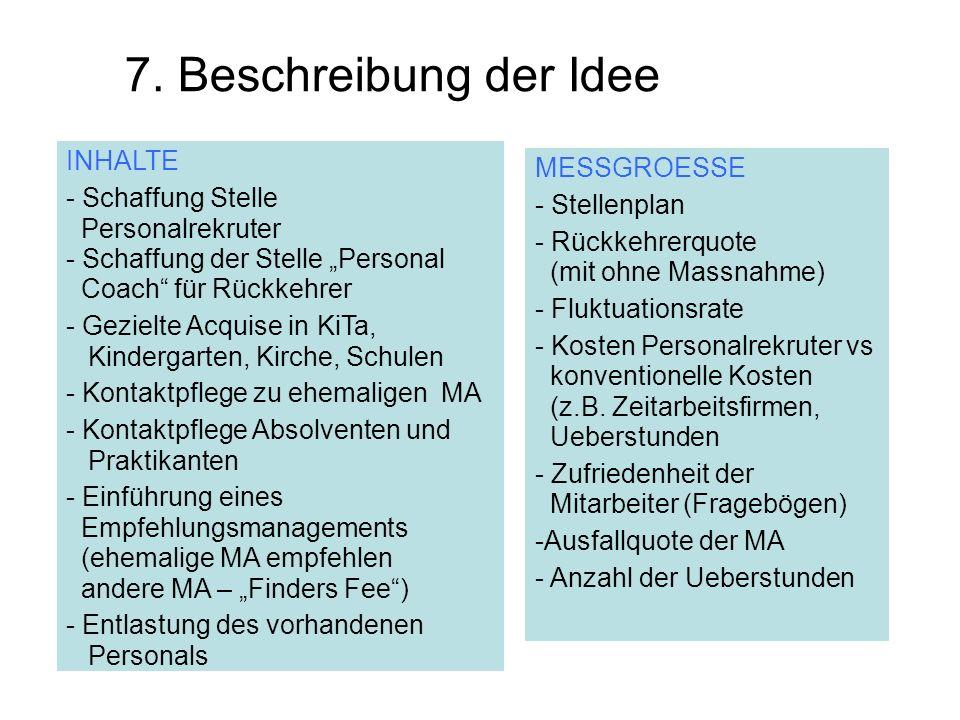 7. Beschreibung der Idee INHALTE - Schaffung Stelle Personalrekruter - Schaffung der Stelle Personal Coach für Rückkehrer - Gezielte Acquise in KiTa,