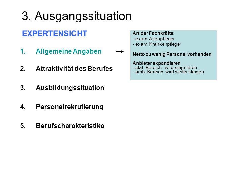 3. Ausgangssituation EXPERTENSICHT Art der Fachkräfte: - exam. Altenpfleger - exam. Krankenpfleger Netto zu wenig Personal vorhanden Anbieter expandie