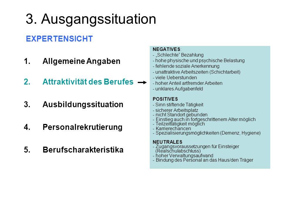 3. Ausgangssituation EXPERTENSICHT NEGATIVES: - Schlechte Bezahlung - hohe physische und psychische Belastung - fehlende soziale Anerkennung - unattra