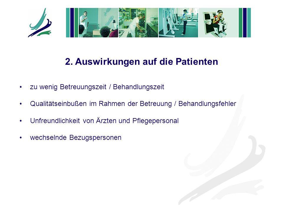 zu wenig Betreuungszeit / Behandlungszeit Qualitätseinbußen im Rahmen der Betreuung / Behandlungsfehler Unfreundlichkeit von Ärzten und Pflegepersonal