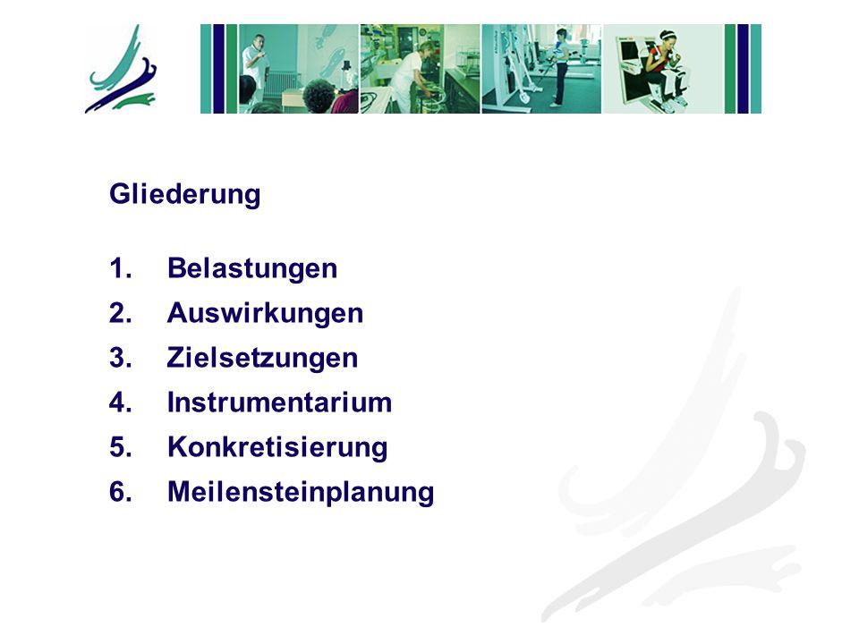 Gliederung 1. Belastungen 2. Auswirkungen 3.Zielsetzungen 4.Instrumentarium 5.Konkretisierung 6.Meilensteinplanung