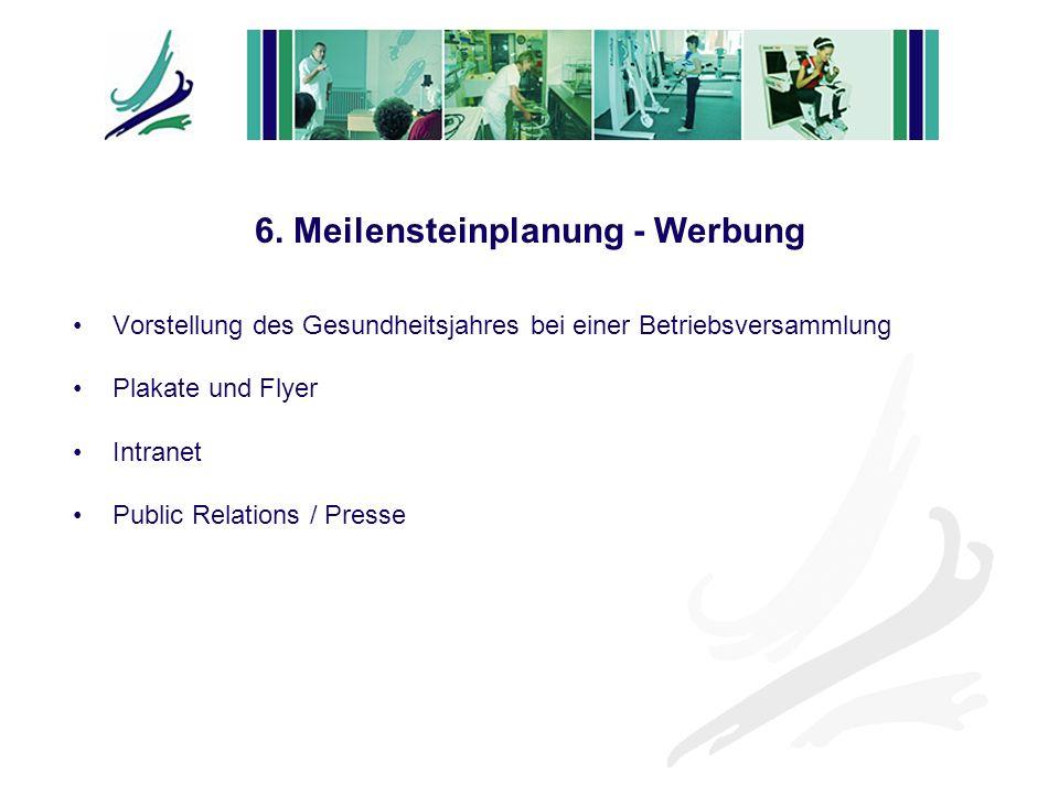 Vorstellung des Gesundheitsjahres bei einer Betriebsversammlung Plakate und Flyer Intranet Public Relations / Presse 6. Meilensteinplanung - Werbung