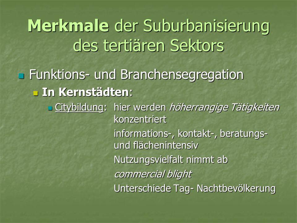 Merkmale der Suburbanisierung des tertiären Sektors In suburbane Räumen: In suburbane Räumen: Angebot für kurz- und mittelfristigen Bedarf wird immer breiter Angebot für kurz- und mittelfristigen Bedarf wird immer breiter Flächenextensive und verkehrsintensive Tätigkeiten orientieren sich an Verkehrsachsen Flächenextensive und verkehrsintensive Tätigkeiten orientieren sich an Verkehrsachsen Funktions- und Branchensegregation Funktions- und Branchensegregation Verlagerung von Kunden- und Kaufkraftströmen Verlagerung von Kunden- und Kaufkraftströmen Umverteilung der Arbeitskräfte im tertiären Sektor Umverteilung der Arbeitskräfte im tertiären Sektor Veränderungen im Infrastrukturbedarf Veränderungen im Infrastrukturbedarf