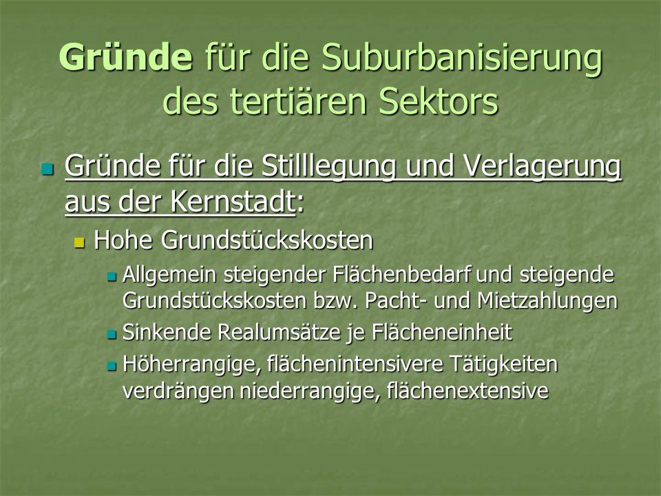Gründe für die Suburbanisierung des tertiären Sektors Gründe für die Stilllegung und Verlagerung aus der Kernstadt: Gründe für die Stilllegung und Ver