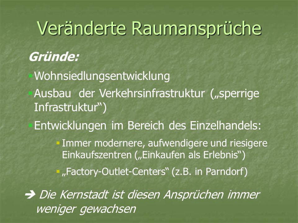 Bodenpreise Enorme Anstiege der Bodenpreise in den Großstadtregionen in den letzten 15 Jahren Beispiel Region Stuttgart: Preissteigerungen von mehr als 50% im Zeitraum 1988 bis 1994, besonders in peripheren Gemeinden und Gemeinden mit geringer zentralörtlicher Bedeutung Beispiel Region München: Verdopplung der Bodenpreise seit 1980