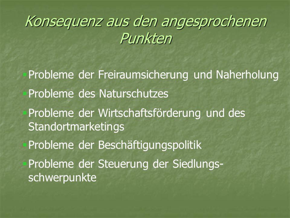 Konsequenz aus den angesprochenen Punkten Probleme der Freiraumsicherung und Naherholung Probleme des Naturschutzes Probleme der Wirtschaftsförderung